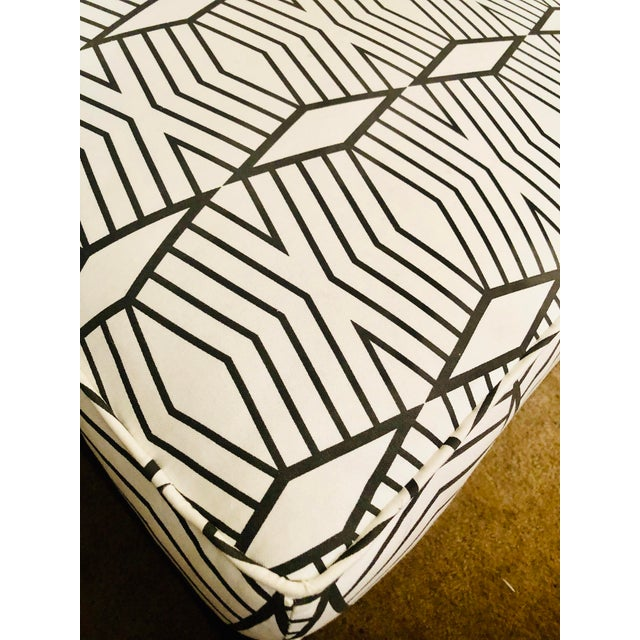 Adirondack Tribal Print Upholstered Traditional Ottoman For Sale - Image 3 of 9