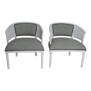 Vintage Mid Century Modern Caned Tub Chairs- a Pair For Sale