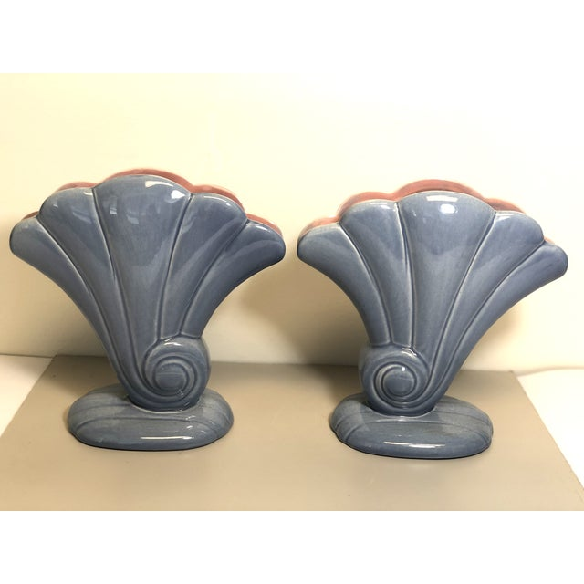 Pair of Red Wing 1940s Vintage 892 USA Shell Flower Vases, in Glazed Blue exterior and Pink Interior
