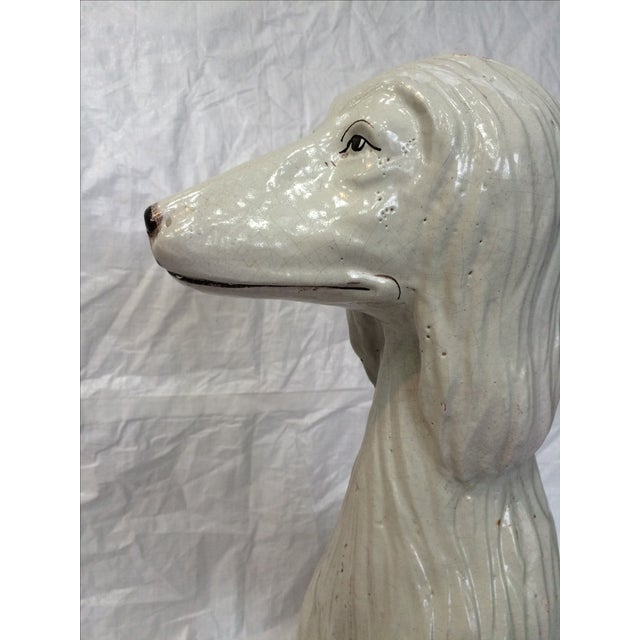 Italian Ceramic Afghan Hound Statue For Sale - Image 9 of 11