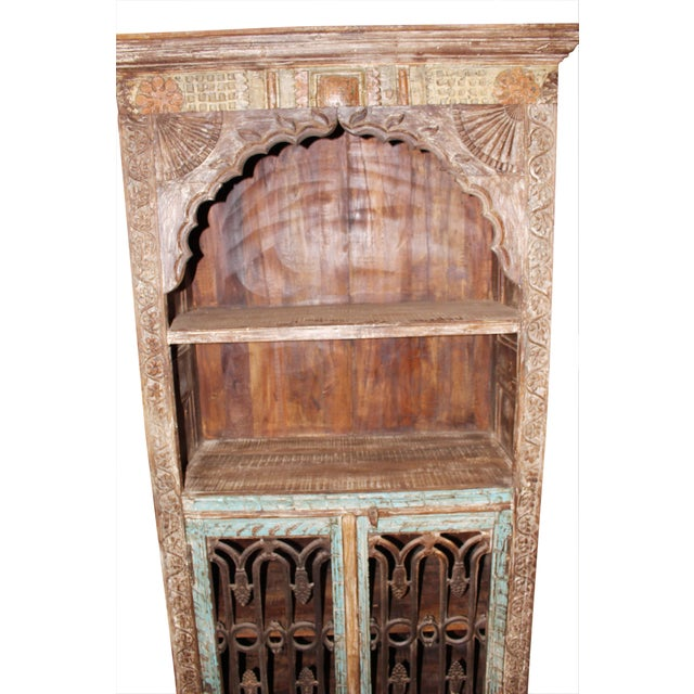 Asian Antique Indian Arch Bookcase Iron Doors Eclectic Bookshelf For Sale -  Image 3 of 5 - Antique Indian Arch Bookcase Iron Doors Eclectic Bookshelf Chairish