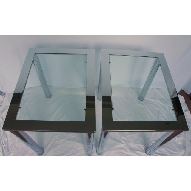 Contemporary Milo Baughman Chrome & Glass End Tables - A Pair For Sale - Image 3 of 11