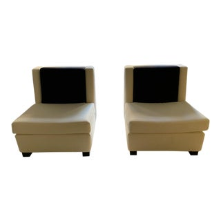 Showroom Sample White Slipper Chairs - a Pair For Sale