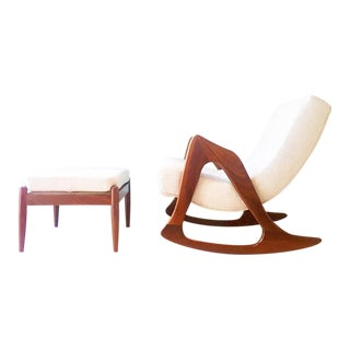 Adrian Pearsall Rocking Chair and Stool 1960s For Sale