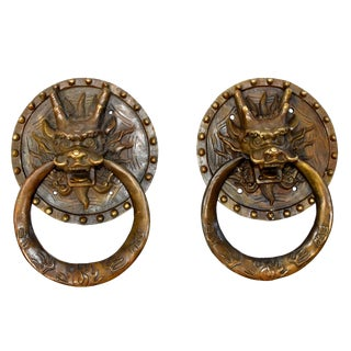 Vintage Dragon Door Knockers- Large Pair For Sale