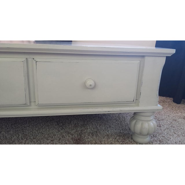 Gray Shabby Chic Coffee Table with Drawers - Image 3 of 7