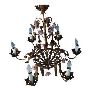 Italian Gilt Metal and Rose Chandelier For Sale