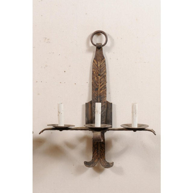 Metal French Mid-Century Three-Light Iron Sconces - a Pair For Sale - Image 7 of 12