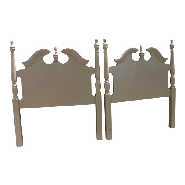 Hollywood Regency Georgian Camel / Putty Gloss Twin Headboards - a Pair For Sale