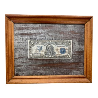 Trompe L'oeil 5 Dollar Bill Painting For Sale