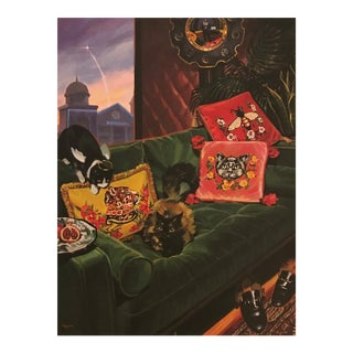 Pop Art Gucci Cat Velvet Green Tufted Sofa Print