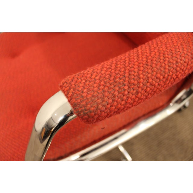 Chrome Mid-Century Danish Modern Red Chrome Steelcase Office Chairs on Wheels - a Pair For Sale - Image 7 of 11