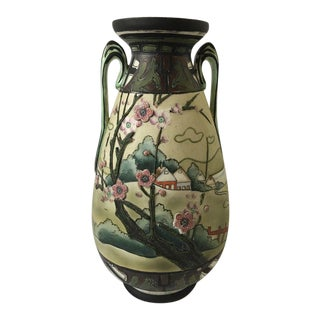 Antique Nippon Morimura Tall Satsuma Vase For Sale