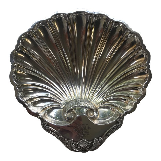 20th Century Regency Silverplate Dolphin Footed Scallop Shell Platter For Sale