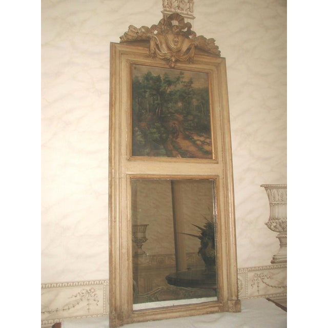 French Trumeau Mirror Canvas Oil Painting, 19th C. - Image 2 of 8
