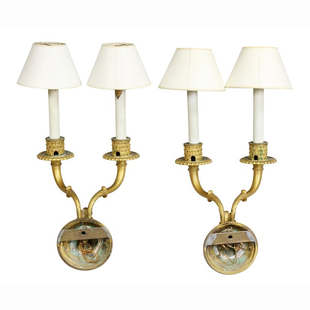 Metal Neoclassic Style Gilt Bronze Wall Lights - a Pair For Sale - Image 7 of 7