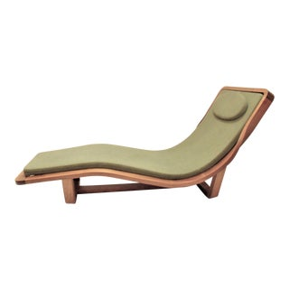 Danish Modern Teak & Green Upholstered Chaise