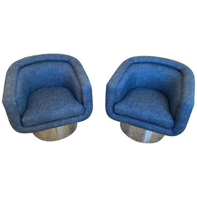 Mid-Century Modern Leon Rosen for Pace Chairs Memory Swivel - a Pair For Sale - Image 13 of 13