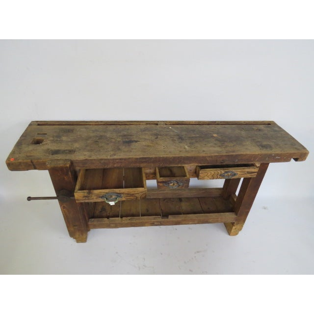 Antique 1900s Industrial Work Table - Image 3 of 6