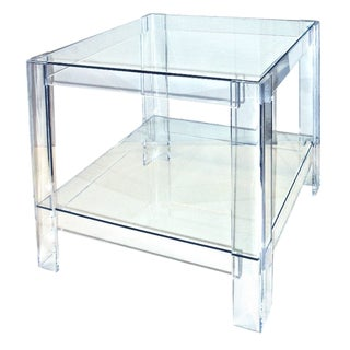 1980s Contemporary Lucite Side Table With Glass Top and Shelf For Sale