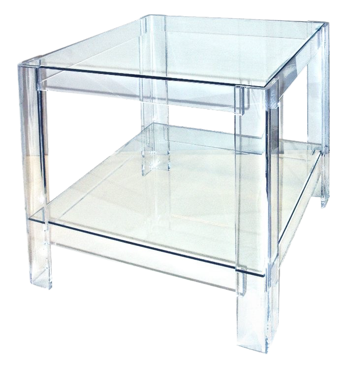 Beau 1980s Contemporary Lucite Side Table With Glass Top And Shelf