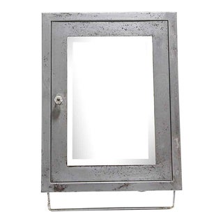 1950s Industrial Steel Corner Medicine Cabinet With Beveled Mirror For Sale