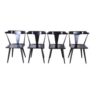 Paul McCobb Planner Group T-Back Black Lacquered Solid Maple Dining Chairs, Set of Four For Sale