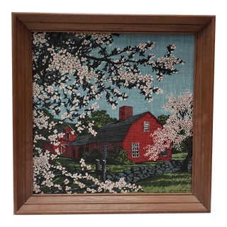 Vintage Circa 1970 Barn Scene Framed Painting on Woven Textile For Sale