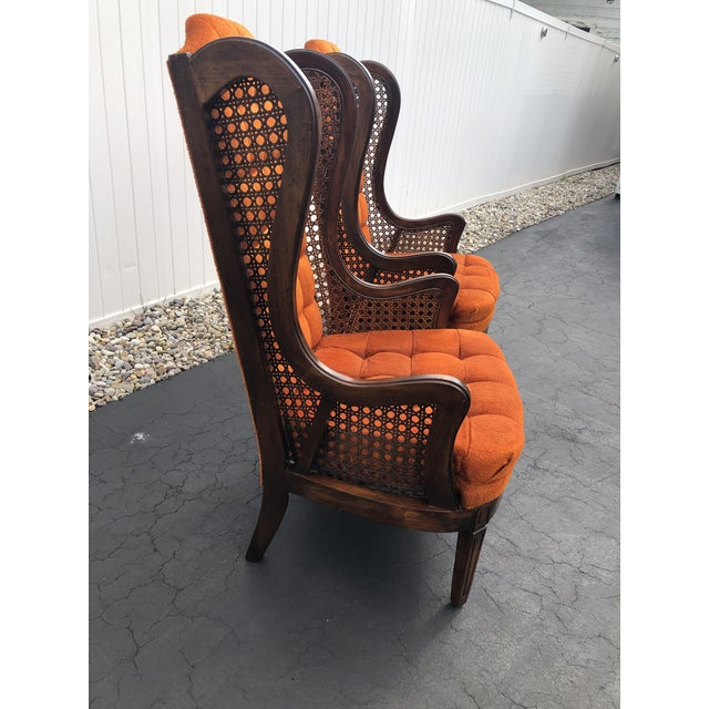 1970s 1970s Hollywood Regency Orange Velvet Canes Wingback Chairs - a Pair For Sale - Image 5 of 10