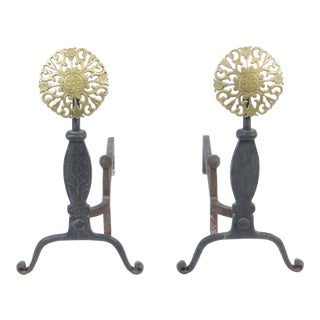 Virginia Metalcrafters Brass Filigree Medallion Cast Iron Fireplace Andirons - a Pair For Sale