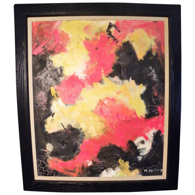 Mid-Century Modern Vibrant Abstract Painting - Image 1 of 6