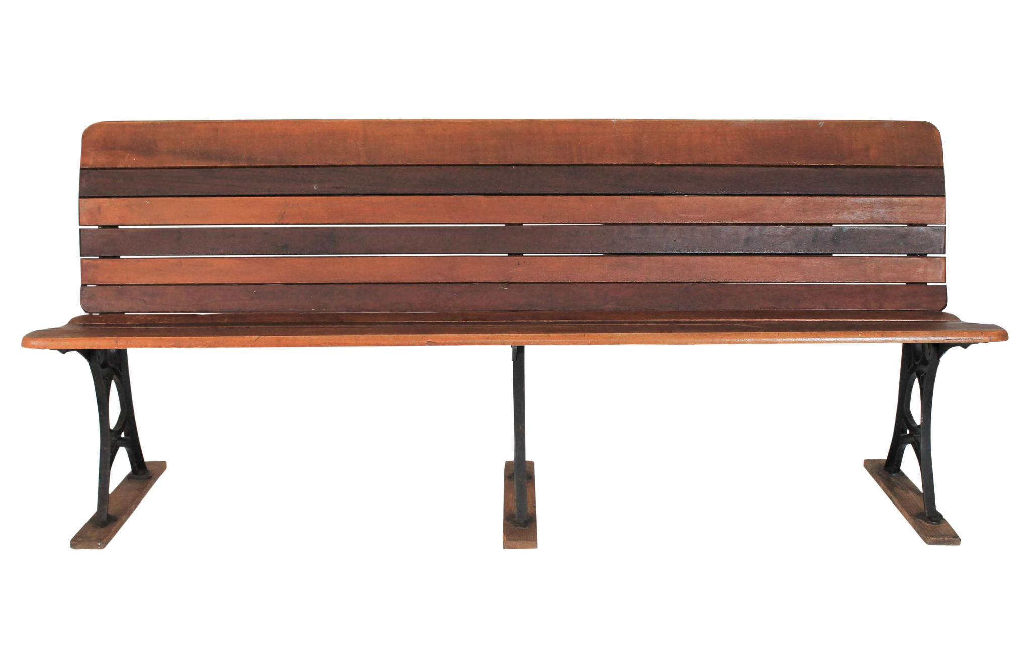 Antique Early American Slat School Bench With Folding Seat Mechanism. Iron  Base Has Decorative Detailing