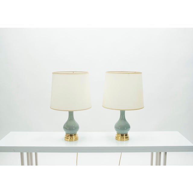 1960s Mid-Century Pair of French Light Blue Ceramic and Brass Lamps 1960s For Sale - Image 5 of 9
