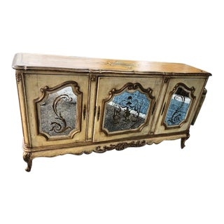 1920s Vintage Mirrored Italian Hand Painted Mirrored Sideboard For Sale
