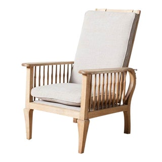 Vintage 1950s Oak Reclining Articulating Chair For Sale