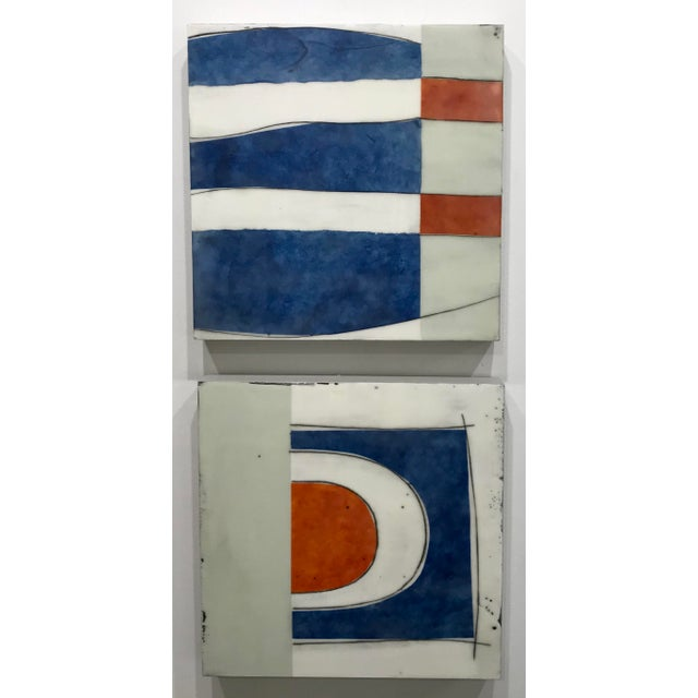 "Contemporary Gina Cochran ""Perceptions No. 30"" Encaustic Collage Painting - Indigo & Orange For Sale - Image 3 of 7"