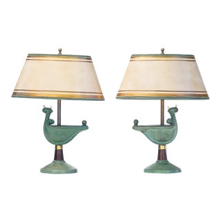 20th C. French Bronze Deco Lamps - a Pair For Sale