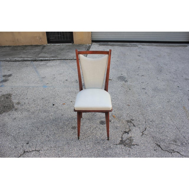 Mahogany Set of 6 French Art Deco or Art Modern Solid Mahogany Dining Chairs Circa 1950s For Sale - Image 7 of 13