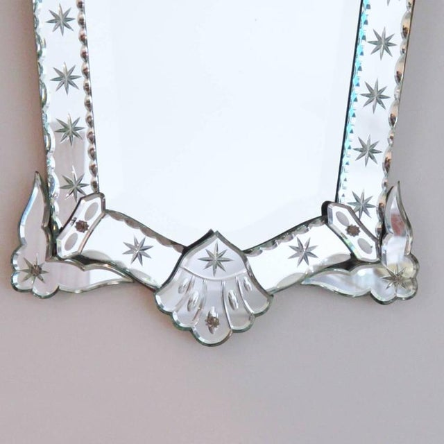 French French 1940s Venetian Style Mirror Beveling and Star Etching For Sale - Image 3 of 7