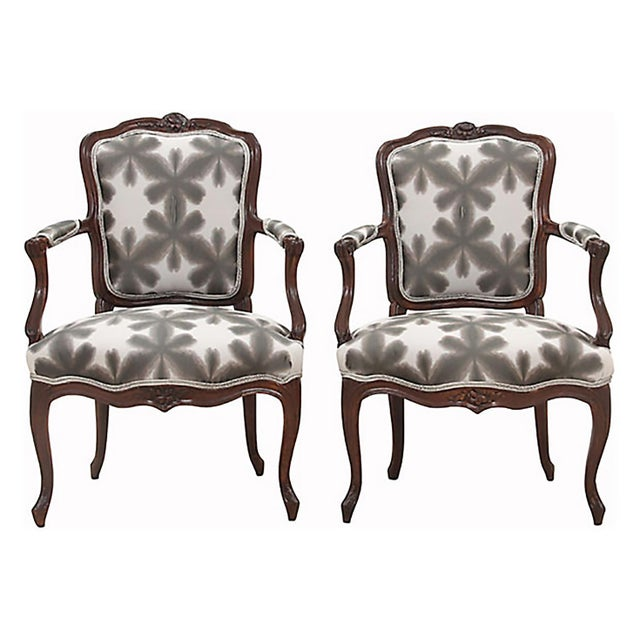 Brown Scalamandre & Kravet Upholstered Louis XV Style Fauteuils, a Pair For Sale - Image 8 of 8