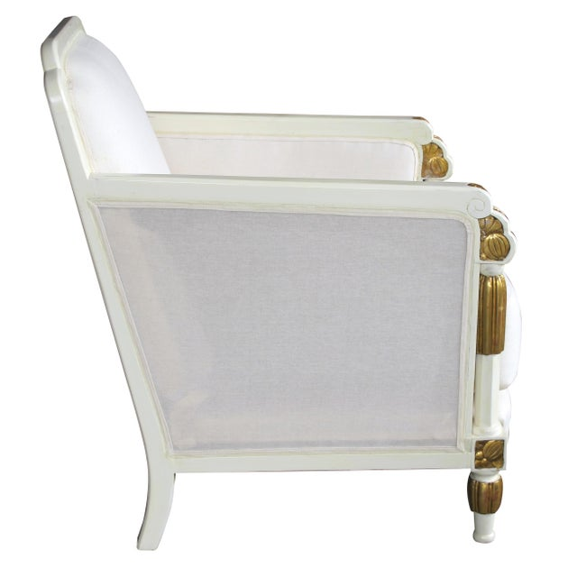 Art Deco 1930s Vintage French Art Deco Ivory Lacquered and Parcel-Gilt Settee For Sale - Image 3 of 7