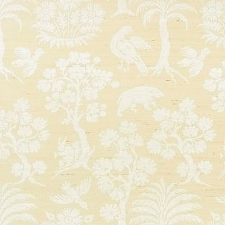 Sample - Schumacher Woodland Silhouette Sisal Wallpaper in Ivory For Sale