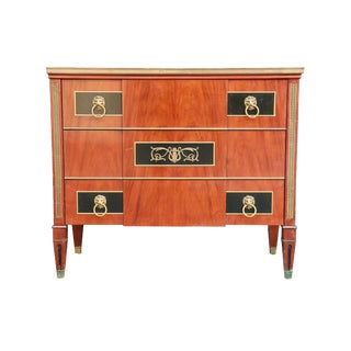 1940s Widdicomb Neo Classical Chest of Drawers With Marble Top For Sale