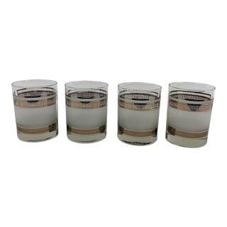 Vintage Georges Briard Grid Pattern Lowball Glasses - Set of 4 For Sale