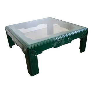 Postmodern Green Lacquer Coffee Table For Sale