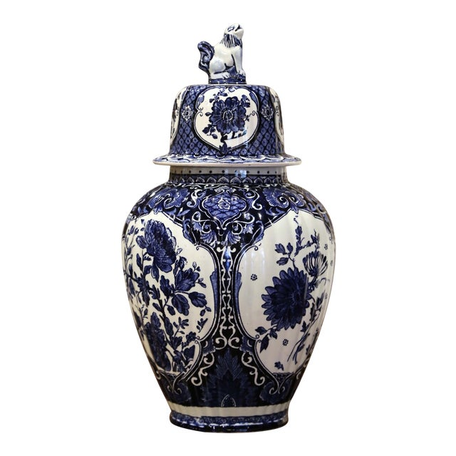 Mid-Century Dutch Faience Blue and White Painted Delft Ginger Jar With Lid For Sale