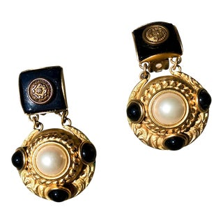 Natasha Stambouli Faux Pearl and Onyx Gripoix Earrings For Sale