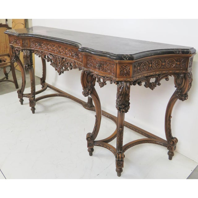 Marbletop Carved Mahogany Console - Image 8 of 8