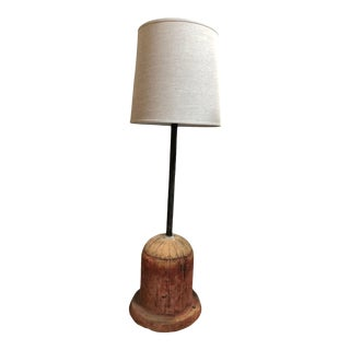 Wooden Form Converted to Lamp with Custom Shade For Sale