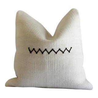 Vintage Hemp Pillow With Zig Zag Stitch For Sale